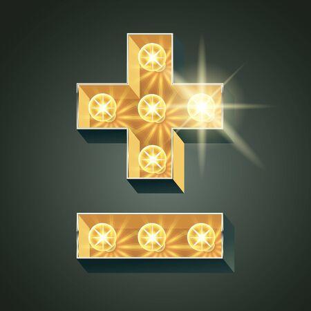 Vector shining light up lamp alphabet in hard font. Symbol
