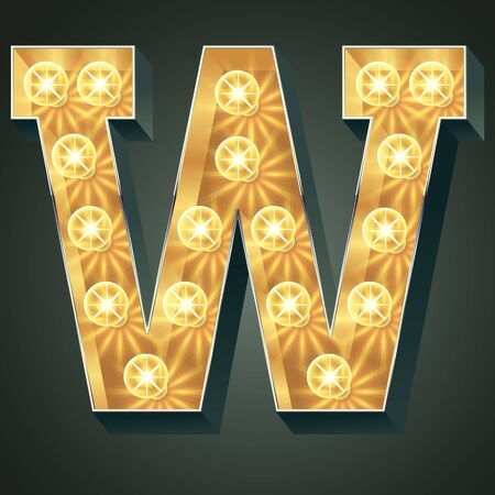 Vector shining light up lamp alphabet in hard font. Letter W