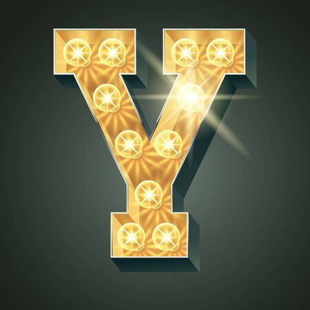 shining light: Vector shining light up lamp alphabet in hard font. Letter Y