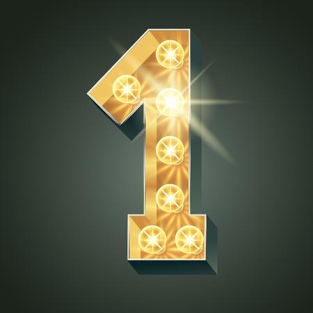 scintillate: Vector shining light up lamp alphabet in hard font. Number 1