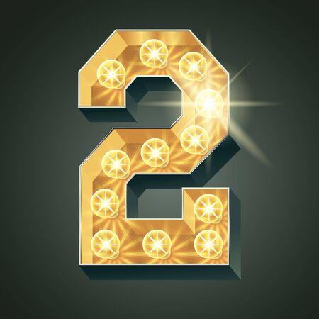 Vector shining light up lamp alphabet in hard font. Number 2