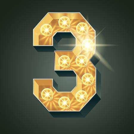 shining light: Vector shining light up lamp alphabet in hard font. Number 3