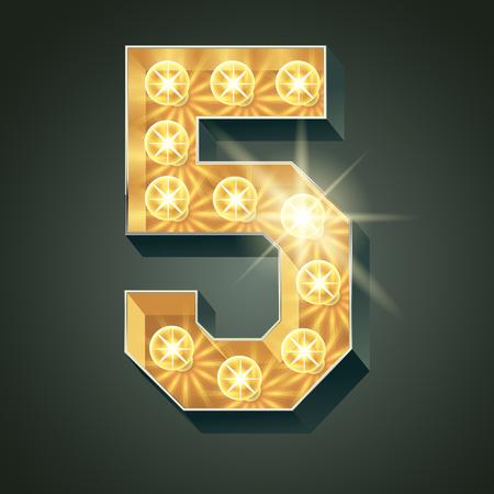 Vector glänzend leuchten Lampe Alphabet in harten Schriftart. Nummer 5 Standard-Bild - 51134795