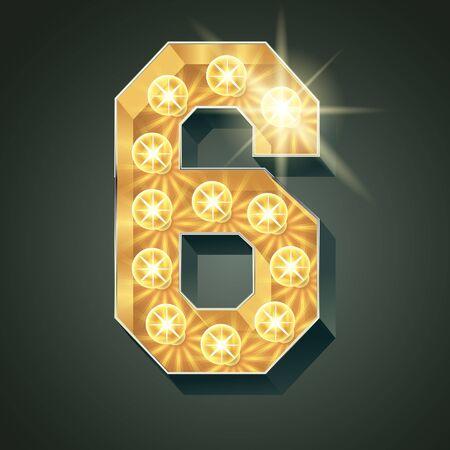 Vector shining light up lamp alphabet in hard font. Number 6