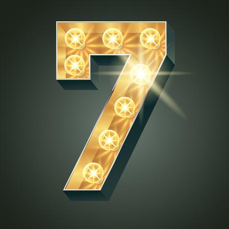 Vector shining light up lamp alphabet in hard font. Number 7