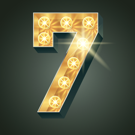 Vector glänzend leuchten Lampe Alphabet in harten Schriftart. Nummer 7 Standard-Bild - 51135478