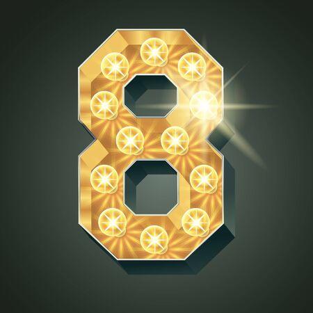 shining light: Vector shining light up lamp alphabet in hard font. Number 8 Illustration