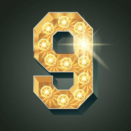 shining light: Vector shining light up lamp alphabet in hard font. Number 9 Illustration