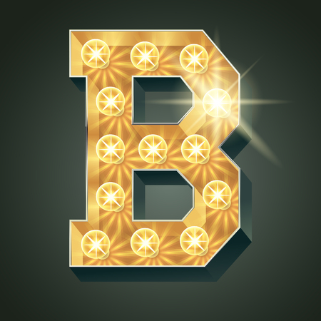 Vector shining light up lamp alphabet in hard font. Letter B