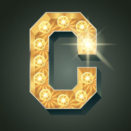 shining light: Vector shining light up lamp alphabet in hard font. Letter C