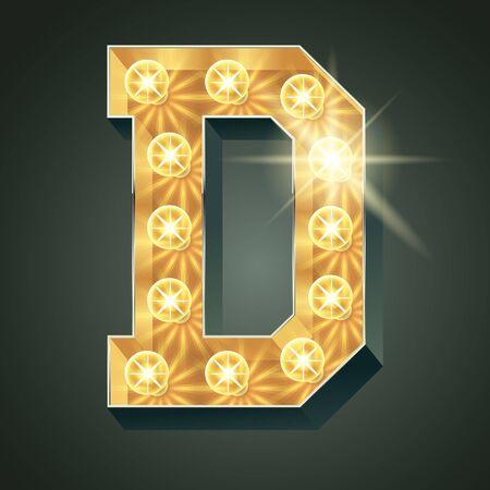 shining light: Vector shining light up lamp alphabet in hard font. Letter D