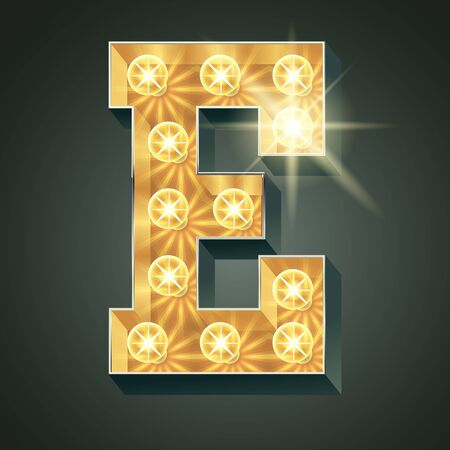 Vector shining light up lamp alphabet in hard font. Letter E