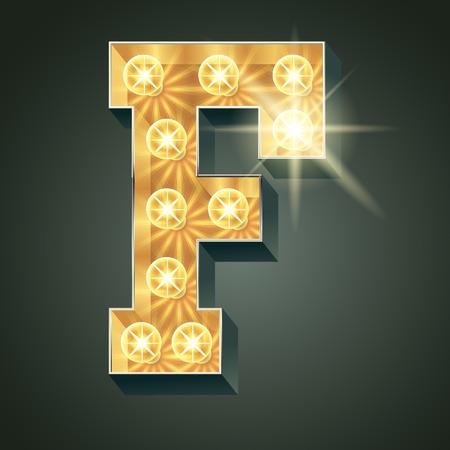 Vector glänzend leuchten Lampe Alphabet in harten Schriftart. Buchstabe F Standard-Bild - 51135485