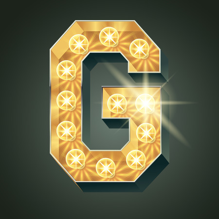 Vector shining light up lamp alphabet in hard font. Letter G
