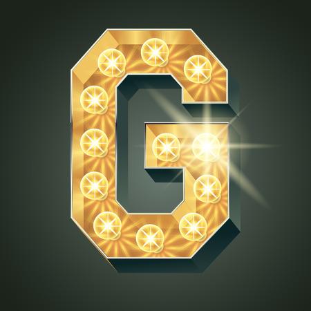 Vector shining light up lamp alphabet in hard font. Letter G