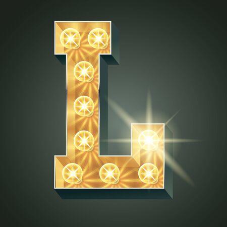 shining light: Vector shining light up lamp alphabet in hard font. Letter L