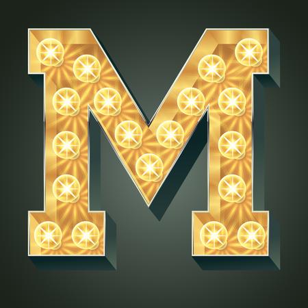 Vector shining light up lamp alphabet in hard font. Letter M