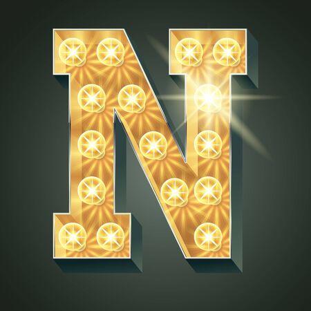Vector shining light up lamp alphabet in hard font. Letter N