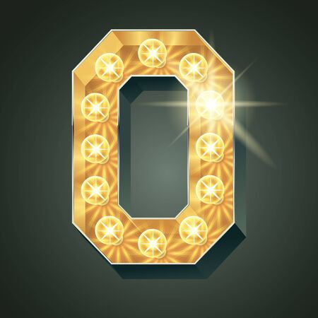 Vector shining light up lamp alphabet in hard font. Letter O Ilustração