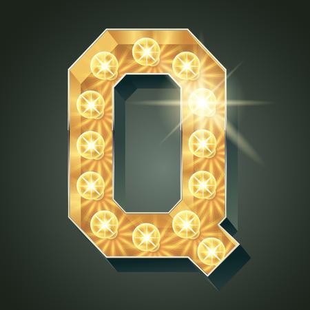 scintillate: Vector shining light up lamp alphabet in hard font. Letter Q