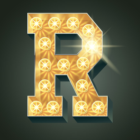 Vector shining light up lamp alphabet in hard font. Letter R