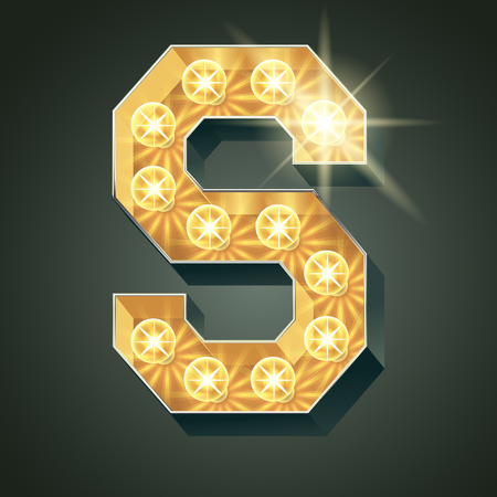 Vector shining light up lamp alphabet in hard font. Letter S