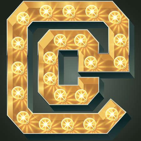 Vector glänzend leuchten Lampe Alphabet in harten Schriftart. Symbol Standard-Bild - 51135700
