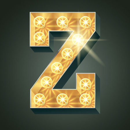 Vector shining light up lamp alphabet in hard font. Letter Z