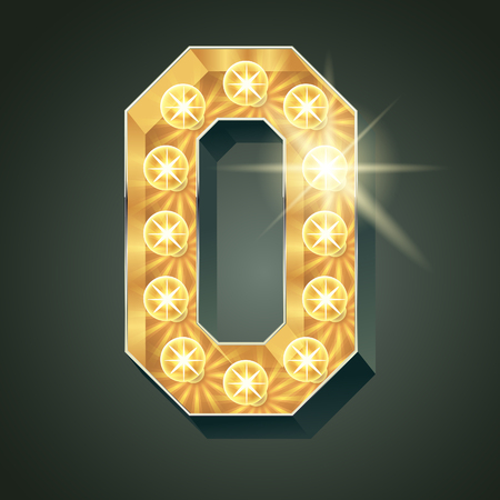 Vector shining light up lamp alphabet in hard font. Number 0