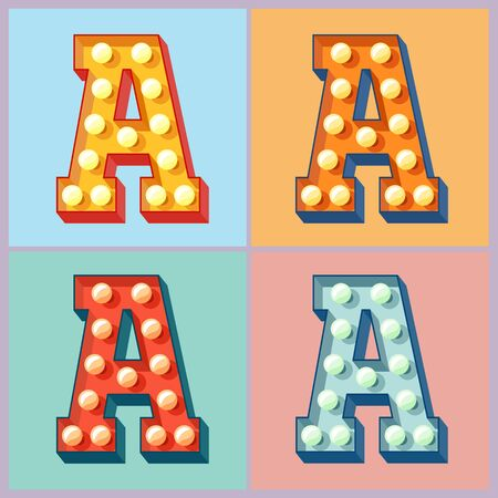 Vector light up colorful flat lamp alphabet. Letter A