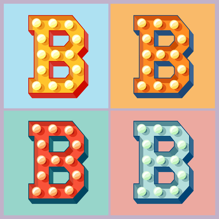 Vector light up colorful flat lamp alphabet. Letter B Ilustração