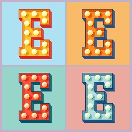 ベクトル カラフルなフラット ランプ アルファベットのライトアップ。E
