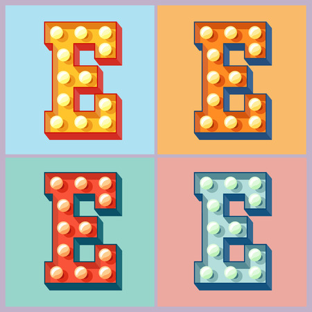 Vector light up colorful flat lamp alphabet. Letter E