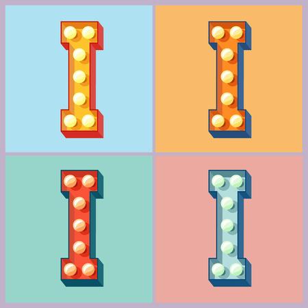 Vector colorido enciende la lámpara plana alfabeto. letra I