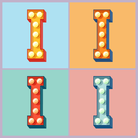 Vector light up colorful flat lamp alphabet. Letter I
