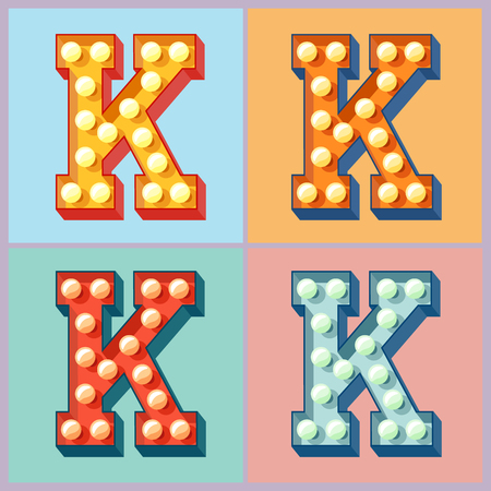 Vector light up colorful flat lamp alphabet. Letter K