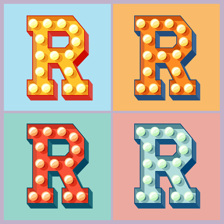 Vector light up colorful flat lamp alphabet. Letter R