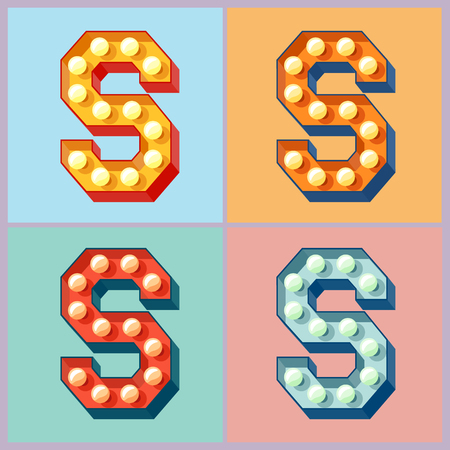 alphabet letters: Vector light up colorful flat lamp alphabet. Letter S