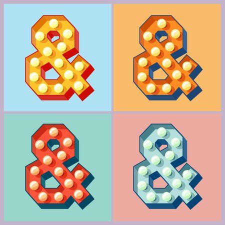 Vector leuchten bunte Flachlampe Alphabets. Symbol Standard-Bild - 51135762