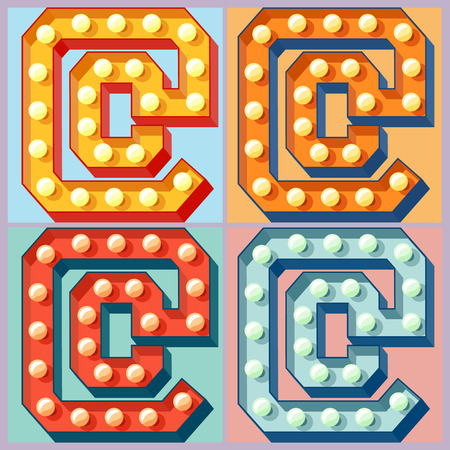 Vector light up colorful flat lamp alphabet. Symbol