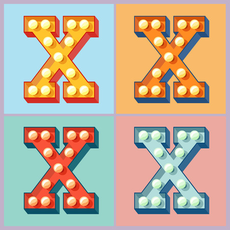 Vector light up colorful flat lamp alphabet. Letter X