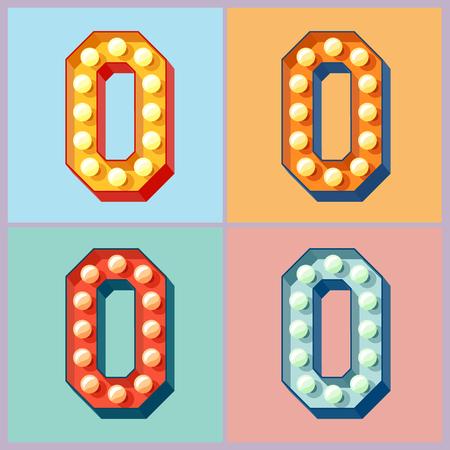 letrero: Vector colorido enciende la lámpara plana alfabeto. número 0