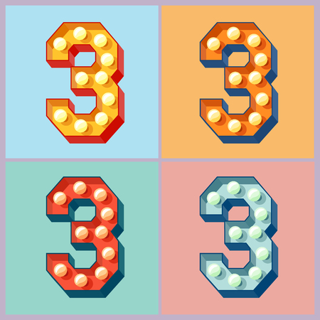 Vector light up colorful flat lamp alphabet. Number 3