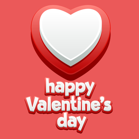 unusual valentine: Beautiful greeting card for St Valentine with classic red and white heart Illustration