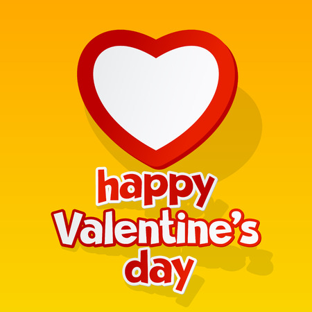 st  valentine's: Vector greeting card for St Valentines Day with heart and text in sticker style