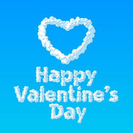 Dreamy vector greeting card for St Valentine's Day with heart and text from clouds on blue background