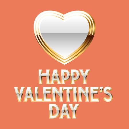 gold heart: Luxury vector greeting card for St Valentines Day with white and gold heart and text Illustration