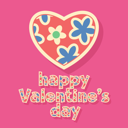 st  valentine: Nice greeting card for St Valentine with pink floral pattern
