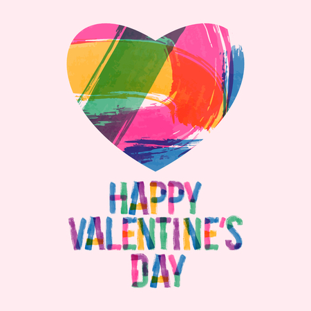 unusual valentine: Colorful greeting card for St Valentine day with painted with brush heart