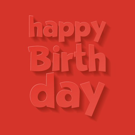 Vector minimalistic red happy birthday card with greeting text Ilustrace